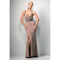 ROSE NOIR #204 - Beaded Evening Gown (Stone Beige size 12)