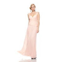 ROSE NOIR #319 - Detailed Strap Evening Gown (Peach)
