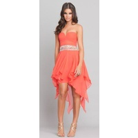 GRACE & HARTS - Mariette Strapless Dress (42800 - Coral/Red size 10)