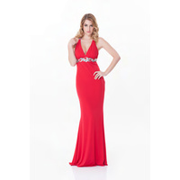 ROSE NOIR #529 - Low V Neck Evening Gown (Red size 8)