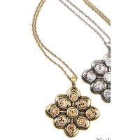 CHRISSY L - Allure Necklace (ALL653 - Antique Gold/Topaz)