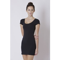 BETTY BASICS - Areatha Tee Dress (BB206 - Black, Black/White, Coral/White, Ocean Blue)