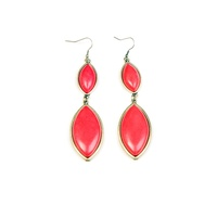 CHRISSY L - Bijoux D'Amour Duo Earrings (BIJ762 - Antique Gold/Coral)