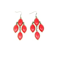 CHRISSY L - Bijoux D'Amour Chandelier Earrings (BIJ765 - Antique Gold/Coral)
