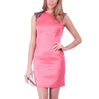 BARIANO - Embellished Cut Out Back Dress (BXD23B - Watermelon)
