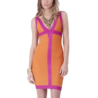 BARIANO - Contrast Bandage Dress (BXD51 - Orange/Pink size 6)