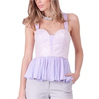 BARIANO - Sequin Peplum Top (BXT08 - White/Lavender)