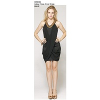 SIGNATURE T - Miley Cross Over Dress (DR0024- Black)
