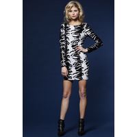 HONEY & BEAU - Stand Out Dress (HD51026S - Black/White Sequins)