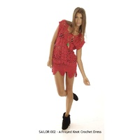 HOUSE OF WILDE - A Frayed Knot Crochet Dress (HOWSA002 - Red size XS)