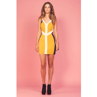 KEEPSAKE - Two Words Body Dress (KX120729D - Mustard/Navy/Ivory)