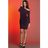 PINK RUBY - Casino Ruched Dress (PD12021 - Black, Plum)