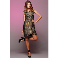 PINK RUBY - Lady Has Frills Dress (PD18201 - Khaki Print, Purple Print)