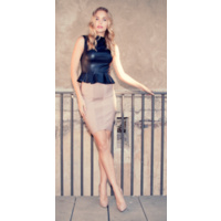 FRESH SOUL - Striped Bare Skirt (R2615 - Beige, Black)