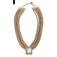 CHRISSY L - Romancing The Stone Necklace (RTS875 - Antique Gold/Jade)