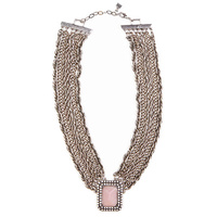 CHRISSY L - Romancing The Stone Necklace (RTS876 - Antique Silver/Blush)