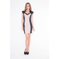 FRESH SOUL - Hostess Dress (S664 - Beige/Black size 8)
