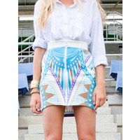 PREMONITION - Placement Print Mini Skirt (SP12-1001 - Turquoise, Lime)