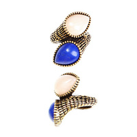 CHRISSY L - Two As One Ring (TWO1037 - Antique Gold/Cobalt/Pink Jade)