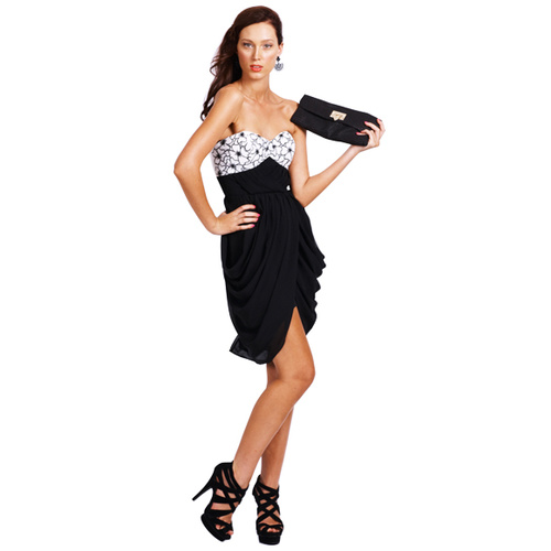 SEDUCE - Monsoon Contrast Dress (128SW4234 - Black/White)