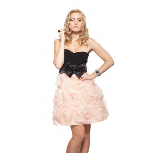 ROSE NOIR #336 - Strapless Rose Dress (Black/Peach)