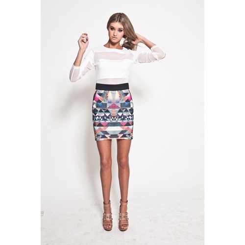 PREMONITION - Crusader Mini Skirt (AW13-1013 - Multi Space size 6)
