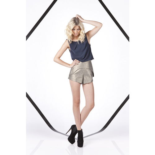 FINDERS KEEPERS - Paper Aeroplane Shorts (FX130529P - Black, Gold)