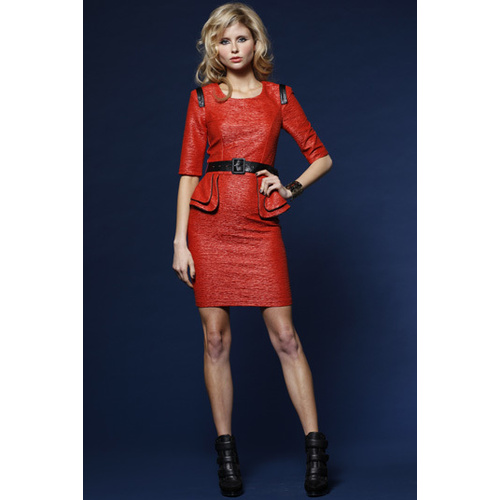 HONEY & BEAU - Ripple Effect Dress (HD51010 - Black, Check, Orange)