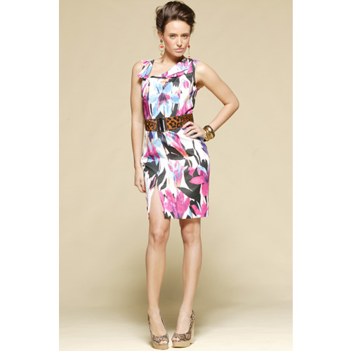 PINK RUBY - Plumage Floaty Dress (PD14015 - Print size 14)