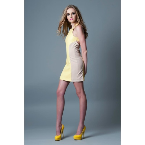 POCKETFUL OF DREAMS - The Ashleigh Dress (POD1022.030 - Nude/Yellow)